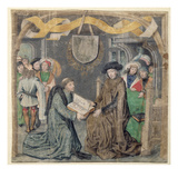 The Presentation of a Book to a Lord (Vellum) Giclee Print by  Master of the St. Bartholomew Altarpiece