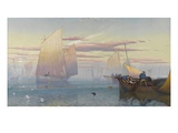 Hauling in the Nets (W/C Heightened with Bodycolour) Giclee Print by James Baker Pyne