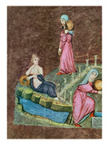 Gr 31 F.7R Rebecca and Eliezer at the Well, from the Vienna Genesis (Vellum( Giclee Print by  Byzantine
