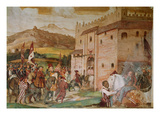 Reception of King Christian I of Denmark by the Condottiere, Bartolomeo Colleoni Giclee Print by Girolamo Romanino