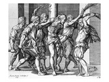 The Flagellation of Christ, Engraved by Martin Rota, 1568 (Engraving) Giclee Print by Battista Franco