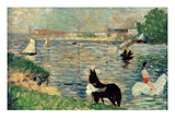 Horses in a River, C.1883 (Panel) (Study for Baignade) Giclee Print by Georges Seurat