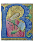 Illuminated Initial 'R' Depicting St. Catherine of Alexandria, Lombardy School (Vellum) Giclee Print by Luchino Belbello