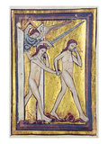 Adam and Eve Banished from Paradise, from a Book of Bible Pictures, C.1250 (Vellum) Giclee Print by William de Brailes