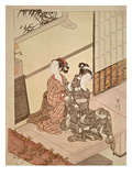 The Evening Bell of the Clock, One of a Series of 'Eight Parlour Scenes' Giclee Print by Suzuki Harunobu