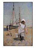 A Breton Fisher Girl (Oil on Panel) Giclee Print by Hector Caffieri
