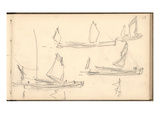 Boats on the Thames (Pencil on Paper) Giclee Print by Claude Monet