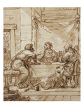 The Supper at Emmaus (Ink on Paper) Giclee Print by  Guercino