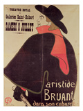 Aristide Bruant Dans Son Cabaret, 1893 (Colour Litho) Lámina giclée por Henri de Toulouse-Lautrec