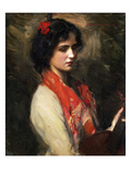 Young Woman with Mandolin, 1901 Giclee Print by Harrington Mann