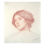 Head of a Girl (Red Chalk on Paper) Giclee Print by John William Waterhouse