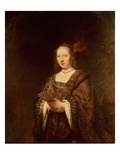 Lady with a Fan Premium Giclee Print by  Rembrandt van Rijn