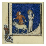 Historiated Initial 'L' Depicting the Martyrdom of St. Lucy, C.1320-30 (Vellum) Giclee Print by  French