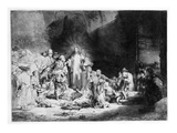 Christ Preaching in a Rocky Landscape, C.1645 (Etching) Giclée-tryk af Rembrandt van Rijn