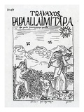 The Month of June, Harvesting the Potatoes (Woodcut) Giclee Print by Felipe Huaman Poma De Ayala