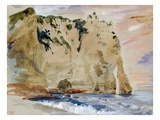 Cliffs of Etretat. the Pied Du Cheval, 1838 (W/C and Gouache on Paper) Giclee Print by Eugene Delacroix