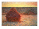 Haystacks at Sunset, Frosty Weather, 1891 Giclee Print by Claude Monet