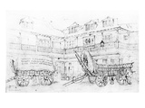 Inn Yard of the Talbot Inn, Southwark, 1810 (Pencil on Paper) Giclee Print by George Sidney Shepherd