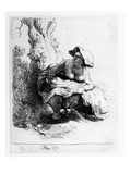 Woman Urinating under a Tree, 1631 (Etching) Giclee Print by  Rembrandt van Rijn