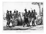 Negres Cangueiros' - Black Porters Carry a Cask, Engraved by Thierry Freres (Fl.1827-45), 1835 Giclee Print by Jean Baptiste Debret