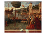 St.Ursula Taking Leave of Her Father, C.1500 (Oil on Panel) Gicle-tryk af Vittore Carpaccio