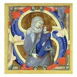 Historiated Initial 's' Depicting St. Anne and the Virgin (Vellum) Giclee Print by Niccolo di ser Sozzo Tegliacci