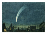 Donati's Comet over Balliol College (W/C with Scratching Out on Paper) Giclee Print by  William of Oxford