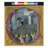 Historiated Initial 'C' Depicting Heralds Anouncing an Eclipse (Vellum) Giclee Print by  Giovanni Pietro da Cemmo