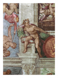 Sistine Chapel Ceiling (1508-12): Expulsion of Adam and Eve from the Garden of Eden: Ignudo Giclee Print by  Michelangelo Buonarroti