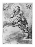 The Virgin and Child in the Clouds (Engraving) Giclee Print by Federico Fiori Barocci or Baroccio