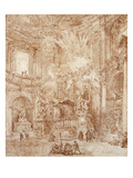 Interior of a Church (Red Chalk on Paper) Reproduction procédé giclée par Hubert Robert