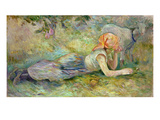 Shepherdess Resting, 1891 Premium Giclée-tryk af Berthe Morisot