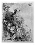 Abraham Holding Young Isaac, C.1637 (Etching) Giclee Print by  Rembrandt van Rijn