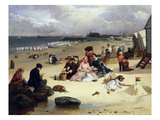 Littlehampton Beach with the Pier, Climping Beyond C.1888 (Oil on Panel) Giclee Print by John W. Eyres