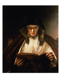Old Woman Reading Premium Giclee Print by  Rembrandt van Rijn