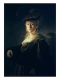 Young Woman in Fancy Dress Giclee Print by  Rembrandt van Rijn