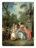 A Lady and a Gentleman in the Garden with Two Children C. 1742 (Oil on Canvas) (Detail of 29887) Giclee Print by Nicolas Lancret