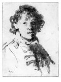Self-Portrait as a Young Man, C.1628 (Pen, Ink and Wash on Paper) Giclee Print by  Rembrandt van Rijn
