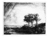 The Three Trees, Engraved by James Bretherton (Etching) Premium Giclee Print by  Rembrandt van Rijn