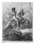 Officer of the Hussars on Horseback (Black Pencil and Blue Pastel and White Highlights on Paper) Giclee Print by Baron Antoine Jean Gros
