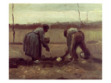 Two Peasants Planting Potatoes, 1885 Giclee Print by Vincent van Gogh