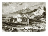 Mount Etna (Viewed from Taurominium), in Sicily Premium Giclee Print by  English