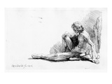 Man Seated on the Ground, 1646 (Etching) Giclee Print by  Rembrandt van Rijn