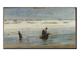 Gathering Driftwood, Holland, 1877 (Oil on Canvas) Giclee Print by William Lionel Wyllie