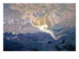 On the Wings of the Morning, 1905 (W/C Heightened with Bodycolour and Gold Paint) Giclee-tryk i høj kvalitet af Edward Robert Hughes