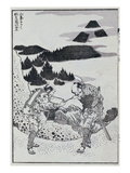 Two Men, from a Manga (Colour Woodblock Print) Giclee Print by Katsushika Hokusai