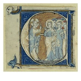 Historiated Initial 'E' Depicting Jesus Christ and the Apostles, C.1320-30 (Vellum) Giclee Print by  French