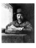 Self Portrait While Drawing, 1648 (Etching) Giclee Print by  Rembrandt van Rijn