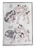 Studies of Gestures and Postures of Wrestlers, from a Manga (Colour Woodblock Print) Giclée-Druck von Katsushika Hokusai