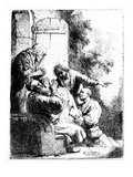 Joseph's Coat Brought to Jacob, C.1633 (Etching) Giclee Print by  Rembrandt van Rijn